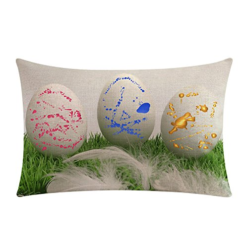 Heimtextilien Festlicher Dekorativer Kissenbezug JMETRIC Kopfkissenbezug aus Osterkissen mit Ei-Print Leinen Baumwolle(Mehrfarbig10)