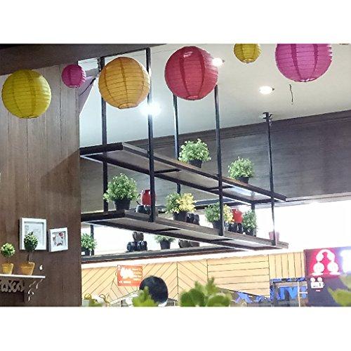 JHXGDJ Eisen Deckenregal Deckenregal LOFT Retro-Massivholz Schmiedeeisen Restaurant Front Regal Rack Regal Ra (größe : 100cm)