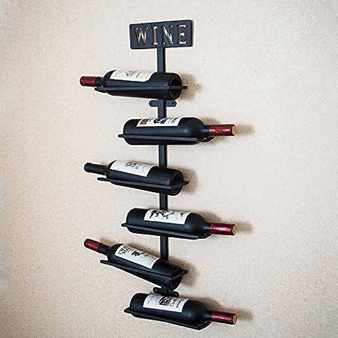 Les cintres crémaillères simples en fer de fer peuvent mettre 6 bouteilles de vin salon / chambre / étude / bar / cave à vin / café 25 * 10 * 80CM