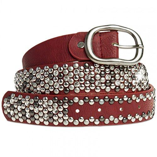 Caspar gu263 donne Studded Belt Wine Red 110