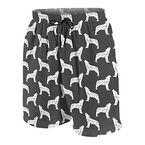 Vikimen Herren Badehose Beach Shorts Wolf Silhouette Pattern Teen Boy's Casual Summer Quick Dry Trunks Beach Pant Swim Board Shorts -
