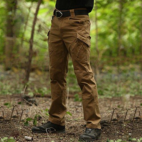 BELLOO Herren Outdoor Tactical Hose Baumwolle Cargo Hose Trousers mit Vielen Taschen für Jagd Wandern Camping Braun