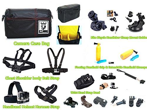 GZ6camshot Kameratasche + Körper Brustgurt Schulter Gürtel + Helm Kopf Gurt + Handgelenk Handschlaufe Band Halterung + Floating Grip Floaty Handheld Stick + Einbeinstativ + Fahrrad Motorrad Lenker + Dash Windschutzscheibe Saugnapf KFZ Halterung für Sony HDR-AS30hdr-as50hdr-as300fdr-x1000fdr-x3000POV Action Cam (Kontur-brustgurt)