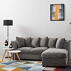 Wellgarden Jumbo Cord Corner Sofa, 3 Seater Grey Fabric Sofa Settee, Full Chenille Cord Fabric Sofa Left or Right Chaise Couch with Footstool in Grey