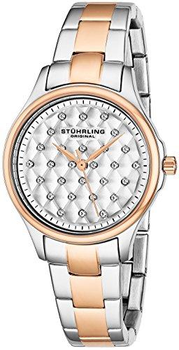 Stuhrling Original, Culcita 567.03, orologio con quadrante analogico bianco al quarzo, da donna, cinturino multicolore in acciaio inox