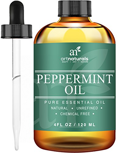 ArtNaturals Pure Peppermint Essential Oil - 100% Pure and Natural Premium Therapeutic Grade Mentha Peperita Essential Oil, Best Fresh Scent for Home and Work, Perfect to Repel Mice and Spiders, 118 ml.
