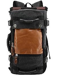 HUKOER Mochila de 35L para Viaje/ Excursionismo/ Camping/ Senderismo. De cuero y lona, Gran Capacidad, Multifuncional (Puede usarse de 3 formas diferentes: Mochila, Bolsa, Bolso/Bandolera)