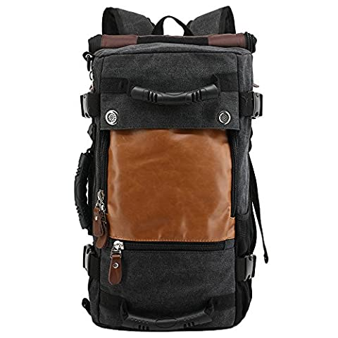 HUKOER 35L Canvas Backpack Tactical Rucksack Vintage Daypack Large Capacity Leather Shoulders Bag Water Resistant Molle Backpack for Hiking, Camping, School, Travel
