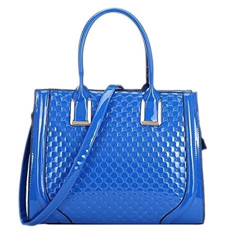 Girly HandBags Elegant Ladies Patent Faux Leather Top Handle Bag Embossed Office Handbag -- Blue