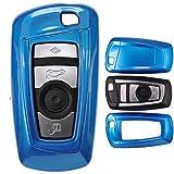 mt-key Auto Schlüssel Cover Hülle BMW 5er F10 F11 F18 3er F30 X 3 X1 X 6 6er 1er F20/Farbe: Metallic Blau