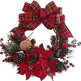 Lispeed Ghirlanda di Natale, Ghirlanda Decorativa per Porta, Corona dell'Avvento, Corona di Rattan, a, A