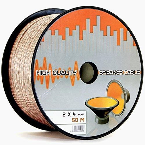 Lokmann 50 Meter 2 x 4,0 mm² Lautsprecherkabel CCA-Kupfer Transparent PVC- Dielektrikum Speaker Hifi Boxen Cable (50m, 2x4mm)