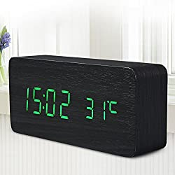Generic Alarm Clock LED Wooden Time Temperature Week Calendar Display Function Digital Table Clock for Home Office with Sound Control Green