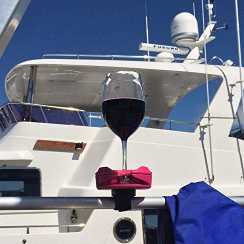 Hukz Tragbar Weinregale Set mit Saugnapf Base, Wein Gläserhalter Getränkehalter Glashalter Weingläser Halter Outdoor Wine Glass Holder Cup Hanger für Weinliebhaber (Rosa)