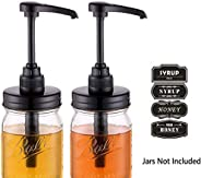 Elwiya Mason Jar Syrup & Honey Dispenser Pump Lids, Rust Proof, Plastic Dispenser Lid for 16 oz Regular Mason Jar Kitchen and