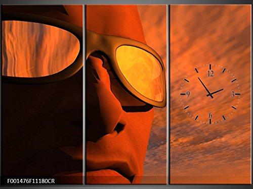 3 Tlg Leinwandbilder Wanduhr Sonnenbrille bei Dämmerung Wandbild Leinwand Bild Restaurant Büro Hotel Wohnzimmer Universität Heim Uhr 111x80 Lwb498