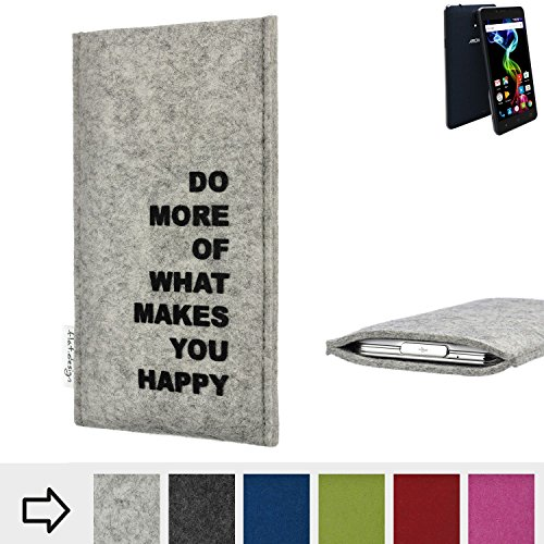 flat.design Handy Hülle FARO für Archos 55b Platinum Made in Germany Handytasche Filz Tasche Case Spruch Motto fair