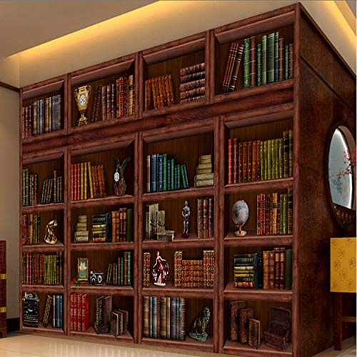 Cczxfcc Maßgeschneiderte Europäische Retro Bücherregal Bücher Wandbilder Bibliothek Wohnzimmer Tapete 3D Stereo Wand Bücherregal Bücherregal Tapete-250Cmx175Cm (Bücherregal-bibliothek-wand)