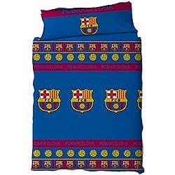 F.C. Barcelona Juego de Cama 2 Piezas. Funda Nórdica + Funda de Almohada. Producto Oficial Barça (150x220 (Cama 90 cmts))
