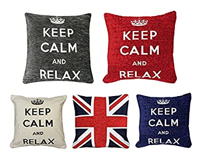 Just Contempo Cotton Cushion Covers with Keep Calm and Union Jack Motif - low-cost UK light shop.