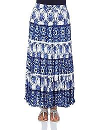 Roman Originals Women's Printed Tier Summer Skirt Ladies Blue