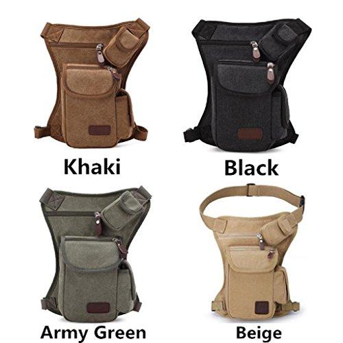 Kangrunmy Multifunzionali esterni Sport Leg Bag tela di canapa del sacchetto della vita cintura di denaro Army Green