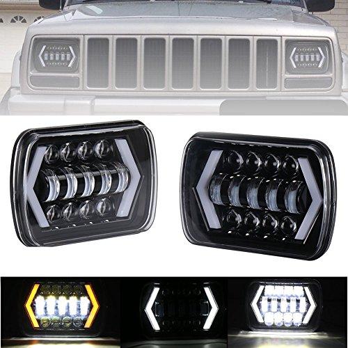 17,8x 15,2cm LED-Scheinwerfer 12,7x 17,8cm quadratisch Scheinwerfer Pfeil Stil, Angel Eyes mit Weiß DRL TFL und Bernstein Tuning Signal für Trucks ersetzt H6014H60546054R-H6052(2Pcs) (H6054 Led)