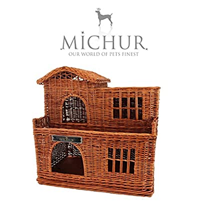 Michur Uncle Tom's Hut beige wicker house cave bed for dogs cats incl. Pillows 3