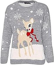 tbd Shulaa - Suéter de Navidad unisex para niñas con diseño de reno Rudolph y copos de nieve