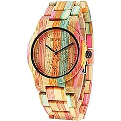 Alienwork Quartz Watch natural bamboo Wristwatch Handmade Bamboo Multi-coloured Multi-coloured UM105DG-02