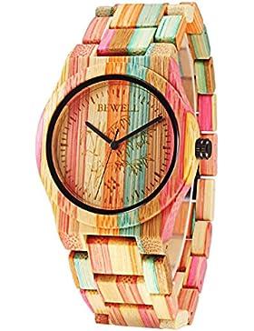 Alienwork Quarz Armbanduhr natürliche Bambus Uhr Damen Uhren Herren handgefertigt Bambus Mehrfarbig UM105DG-02