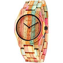 Alienwork Reloj cuarzo bambú natural relojes mujer hombre hecho a mano bambú abigarrado UM105DG-02