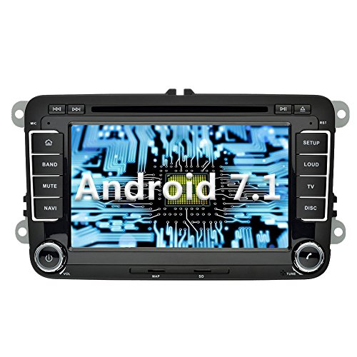 YINUO 7 pouces 2 Din Android 7.1.1 Nougat 2GB RAM Quad Core écran tactile Autoradio gps Lecteur de DVD GPS Navigation gps avec Bluetooth 7 Couleurs Button illumination Autoradio gps pour VW/SKODA Golf Polo Jetta Passat Touran support DAB OBD2 WiFi (Autoradio)