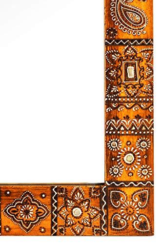 Orient Spiegel Wandspiegel Nour 90cm groß   Großer Marokkanischer Flurspiegel mit Holzrahmen Orientalisch Handbemalt   Orientalischer Vintage Badspiegel ohne
