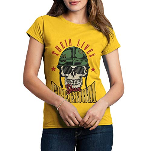 C899WCNTY Damen T-Shirt Your Freedom Army Fighter Air Force Classic Jet Plane Aircraft US Military Base Vintage(XX-Large,Yellow) -