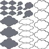 GRAZDesign 770090_57_071 Wandtattoo Wolken Klein groß | Dekoration für Kinderzimmer - Jungs und Mädchen - für Schulen | Wand-Aufkleber für Wände (57x57cm//071 Grau)