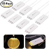 YUNLIGHTS 10 Pack Warm Weiß LED Ballon Lichter mit 3