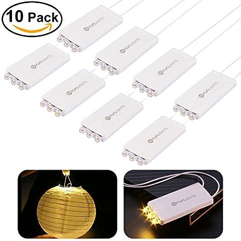 YUNLIGHTS Pack de 10 Mini-Lampes pour Fête avec 3 LEDs Lampes Waterproof Pour Lanternes en Papier Lampes Nocturnes et Réverbères Muraux - Blanc