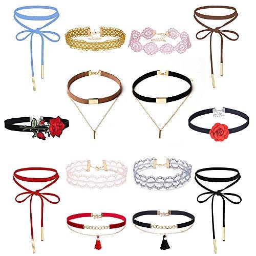 MingJun Bunte Samt Choker Halskette Set Vintage gestickte Spitze Gothic Halskette Quaste (Packung mit 14) -