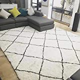 Europäische Klassiker Handgefertigte Rhombus Streifen Schwarz und weiß Teppich Schlafzimmer Wohnzimmer Arbeitszimmer Teppich (Größe : 60cm*200cm)