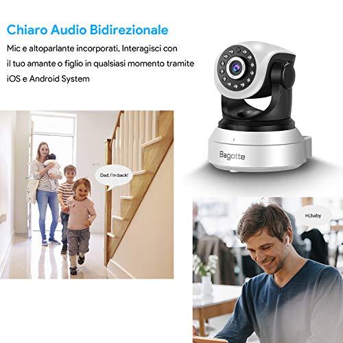 Bagotte HD 720P Telecamera Sorveglianza Wifi Interno, Videocamera IP Wireless Camera, Visione Notturna a Infrarossi , Audio Bidirezionale, Sensore di Movimento Pan/Tilt, Compatibile con iOS & Android - 5
