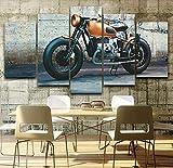 GLORIOUS.YY Leinwandbilder Weinlese-Motorrad Wandbild Vlies Leinwand Bild Wandbilder Wohnzimmer Deko Kunstdrucke 5 Teilig - Fertig Zum Aufhängen 150X80Cm(A)