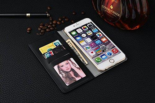 iPhone Case Cover Leinen-Leder wickelte Muster Mischfarbe PU-lederner Mappen-Kasten mit Bargeld-Karten-Schlitz-Standplatz-Fall für IPhone 6s plus 5.5 Zoll ( Color : Blue , Size : IPhone 6s Plus ) Black