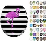 WC Sitz mit Absenkautomatik, große Auswahl, schöne Motive, hochwertige und stabile Qualität aus Holz (Flamingo)