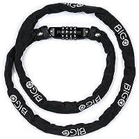 Candado de Bicicleta BIGO Seguridad Candado de Cadena Mejor Combinación Cable de Bloqueo antirrobo alta seguridad 120cm para la bicicleta al Aire Libre-Negro