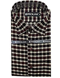 STC Men's Red Woolen Checkered Cottswool Winter Wear Full Sleeves Regular Fit Formal Shirt 0124