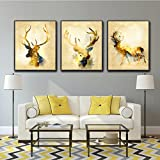 LA VIE 3 Panel Wall Art Golden Deers Stag with Long Antler Pictures Modern Decoration Prints On Canvas for Living Room Home Decor or Hotel Office Decor Decoration Gift Piece 16x24 Inch for Each
