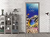 GRAZDesign 791580_67x213 Tür-Bild Unterwasserwelt mit Spruch Deep Sea | Aufkleber für Wohnzimmer/Bad | Türfolie Selbstklebend (67x213cm//Cuttermesser)