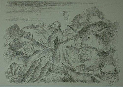 Der heilige Franziskus, von friedlichen Tieren umringt. Lithographie, unten rechts mit Bleistift...