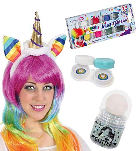 KarnevalsTeufel Zubehör-Set Einhorn 4-teilig Haarreif mit Kontaktlinsen, Aqua Schmink-Tableau und...
